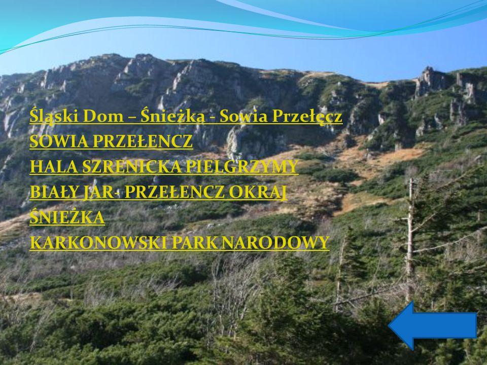 Śląski Dom – Śnieżka - Sowia Przełęcz SOWIA PRZEŁENCZ HALA SZRENICKA PIELGRZYMY BIAŁY JAR- PRZEŁENCZ OKRAJ ŚNIEŻKA KARKONOWSKI PARK NARODOWY