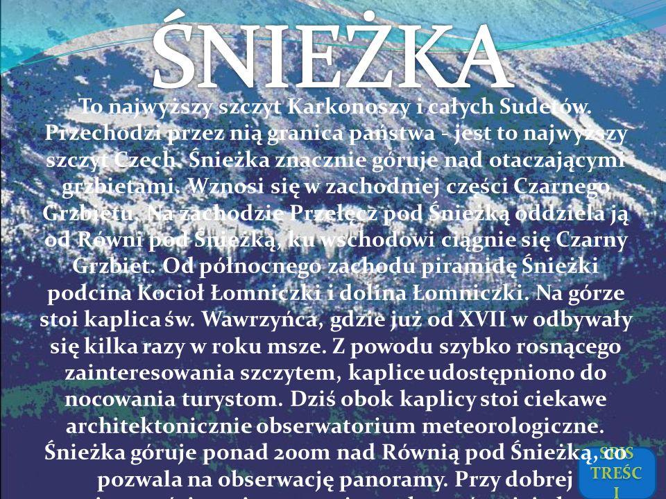 To najwyższy szczyt Karkonoszy i całych Sudetów. Przechodzi przez nią granica państwa - jest to najwyższy szczyt Czech. Śnieżka znacznie góruje nad ot