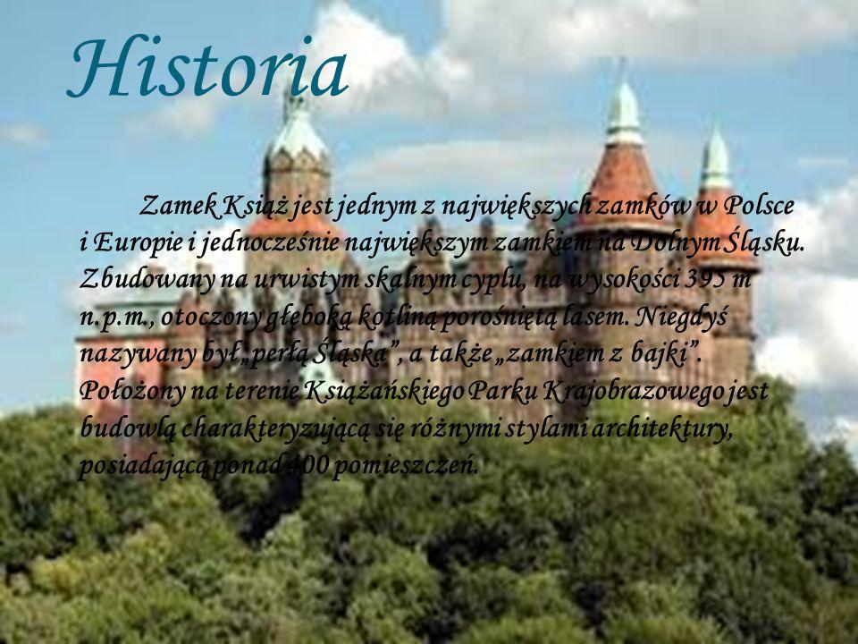 Historia Zamek Książ jest jednym z największych zamków w Polsce i Europie i jednocześnie największym zamkiem na Dolnym Śląsku. Zbudowany na urwistym s