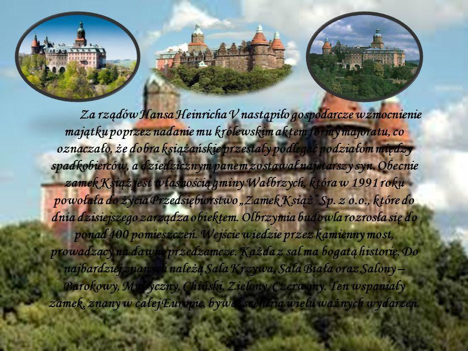 Za rządów Hansa Heinricha V nastąpiło gospodarcze wzmocnienie majątku poprzez nadanie mu królewskim aktem formy majoratu, co oznaczało, że dobra książ