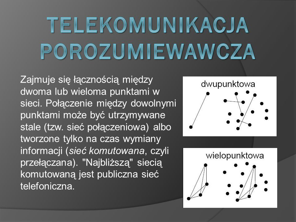 Zajmuje się łącznością między dwoma lub wieloma punktami w sieci. Połączenie między dowolnymi punktami może być utrzymywane stale (tzw. sieć połączeni