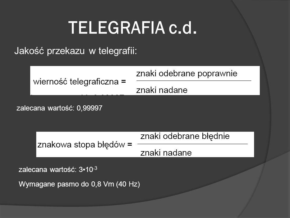 TELEGRAFIA c.d. Jakość przekazu w telegrafii: zalecana wartość: 0,99997 zalecana wartość: 310 -3 Wymagane pasmo do 0,8 Vm (40 Hz)