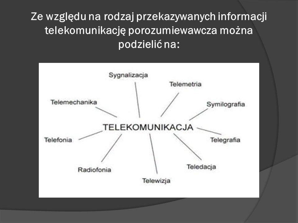 Telefonia – przekaz głosu Radiofonia – przekaz dźwięku, mowy i muzyki Telewizja – przekaz obrazów ruchomych Teledacja – przekaz danych cyfrowych Telegrafia – przekaz znaków pisanych Symilografia – przekaz obrazów nieruchomych Telemetria – przekaz danych pomiarowych Sygnalizacja – przekaz umownych znaków, które zastępują zdania Telemechanika – przekaz impulsów sterujących