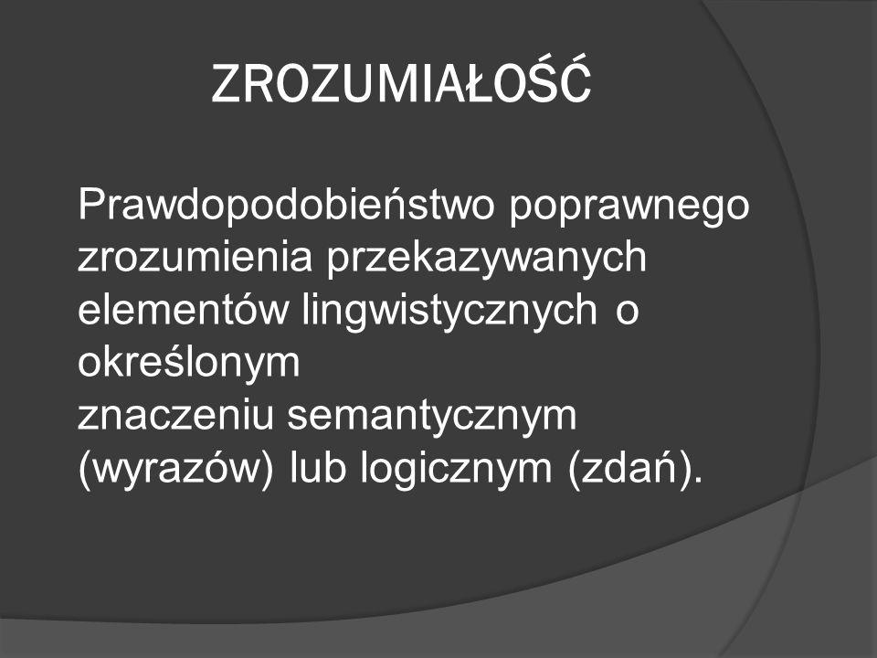 ZROZUMIAŁOŚĆ Prawdopodobieństwo poprawnego zrozumienia przekazywanych elementów lingwistycznych o określonym znaczeniu semantycznym (wyrazów) lub logi