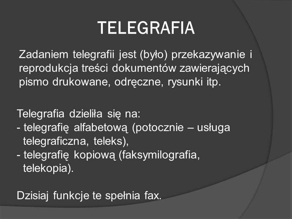 TELEGRAFIA Zadaniem telegrafii jest (było) przekazywanie i reprodukcja treści dokumentów zawierających pismo drukowane, odręczne, rysunki itp. Telegra
