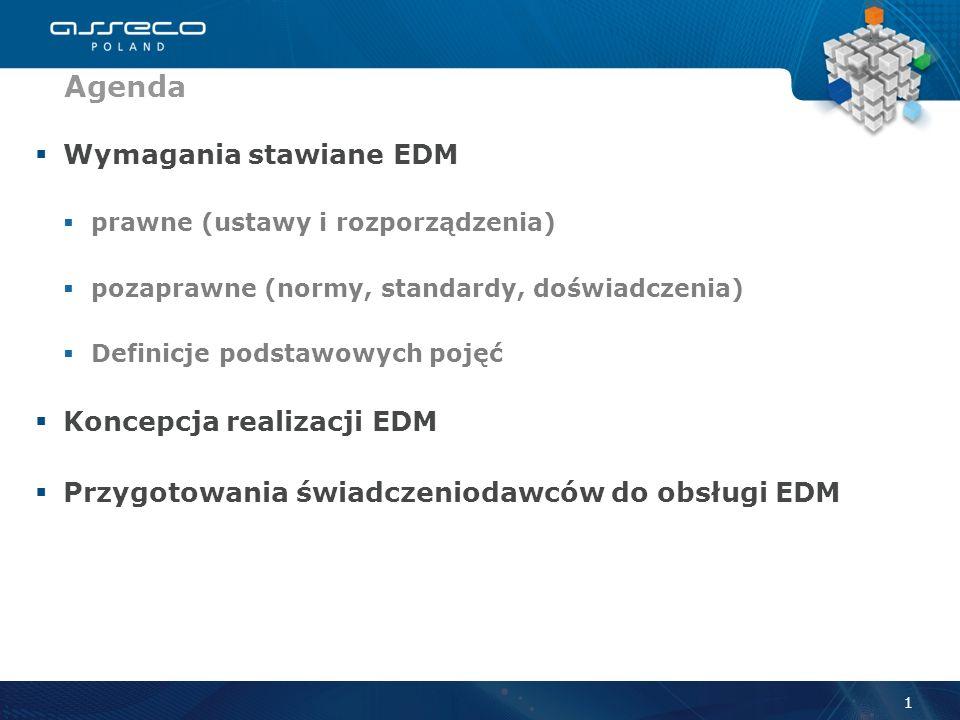 Wymagania stawiane EDM prawne (ustawy i rozporządzenia) pozaprawne (normy, standardy, doświadczenia) Definicje podstawowych pojęć Koncepcja realizacji EDM Przygotowania świadczeniodawców do obsługi EDM Agenda 1