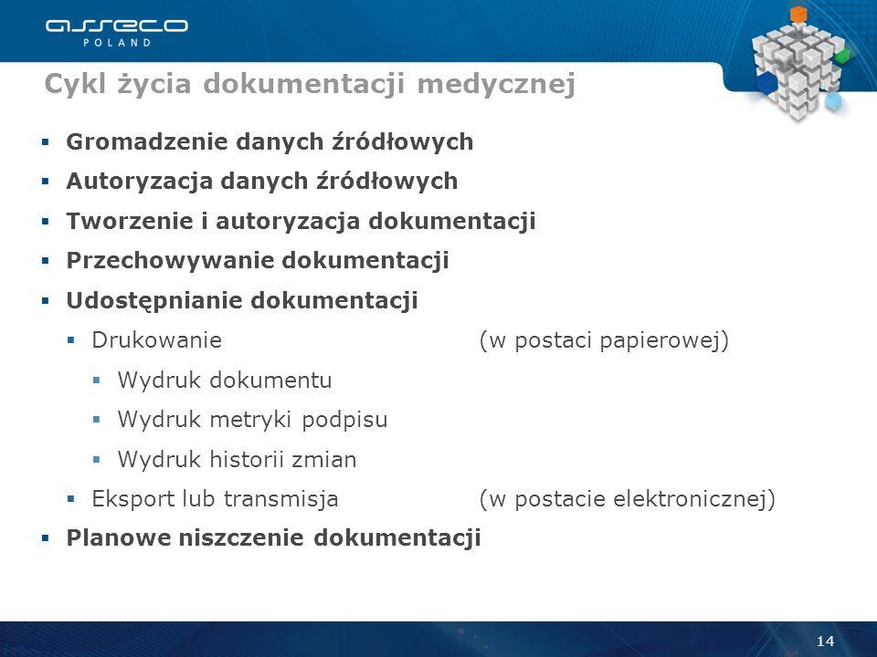 EDM Sposób obsługi EDM 13 Repozytorium EDM Archiwum dokumentacji medycznej System klasy HIS Ewidencja danych źródłowych (Baza danych) Autoryzacja dany