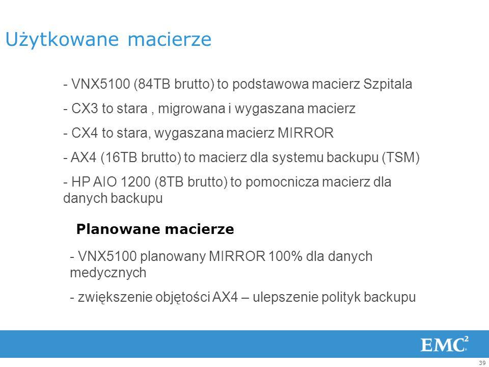 38 Solidna podstawa sieci FC Przełączniki CISCO oraz QLogic -Redundancja – 2 ZONE -Planowane ujednolicenie infrastruktury QLogic Cisco CX4 CX3 VNX5100