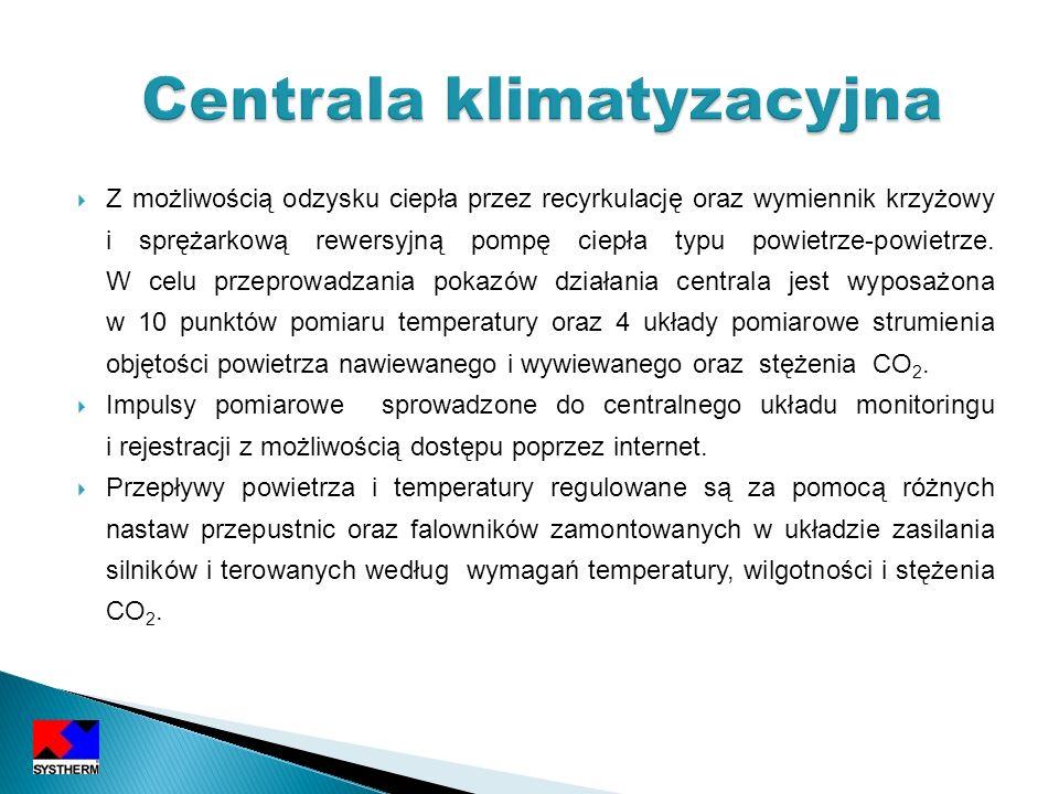 Z możliwością odzysku ciepła przez recyrkulację oraz wymiennik krzyżowy i sprężarkową rewersyjną pompę ciepła typu powietrze-powietrze. W celu przepro