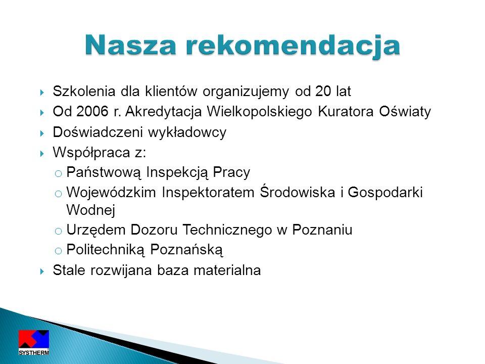 Szkolenia dla klientów organizujemy od 20 lat Od 2006 r. Akredytacja Wielkopolskiego Kuratora Oświaty Doświadczeni wykładowcy Współpraca z: o Państwow