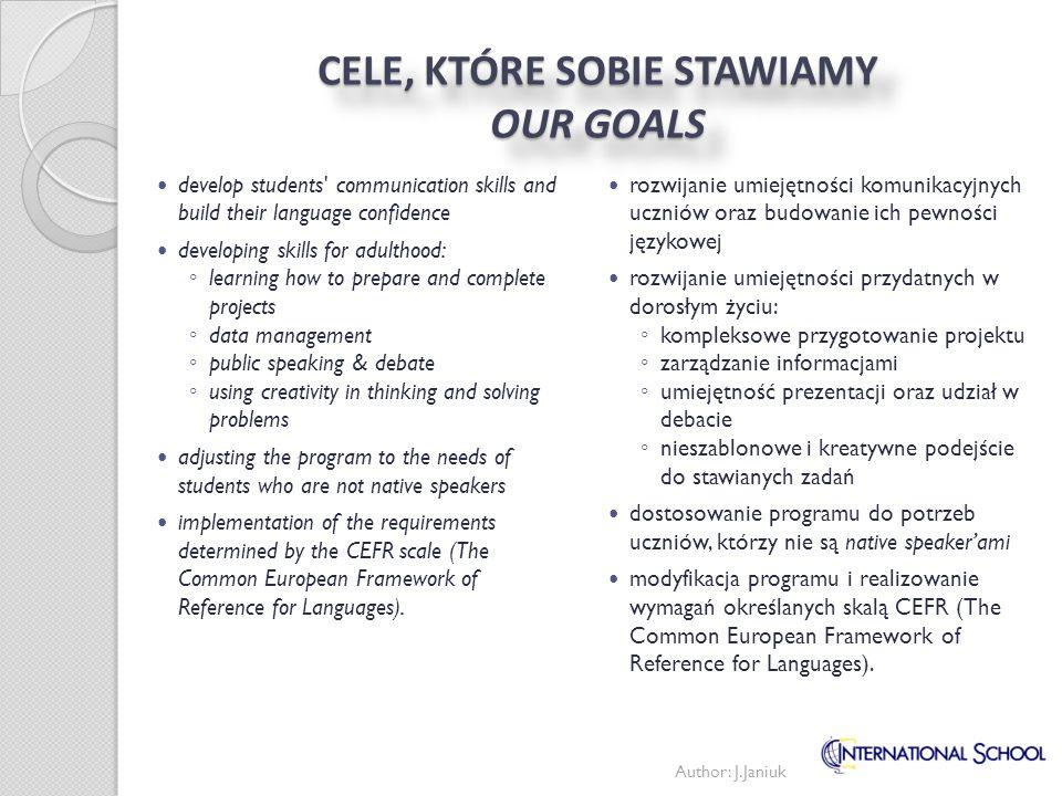 CELE, KTÓRE SOBIE STAWIAMY OUR GOALS rozwijanie umiejętności komunikacyjnych uczniów oraz budowanie ich pewności językowej rozwijanie umiejętności prz