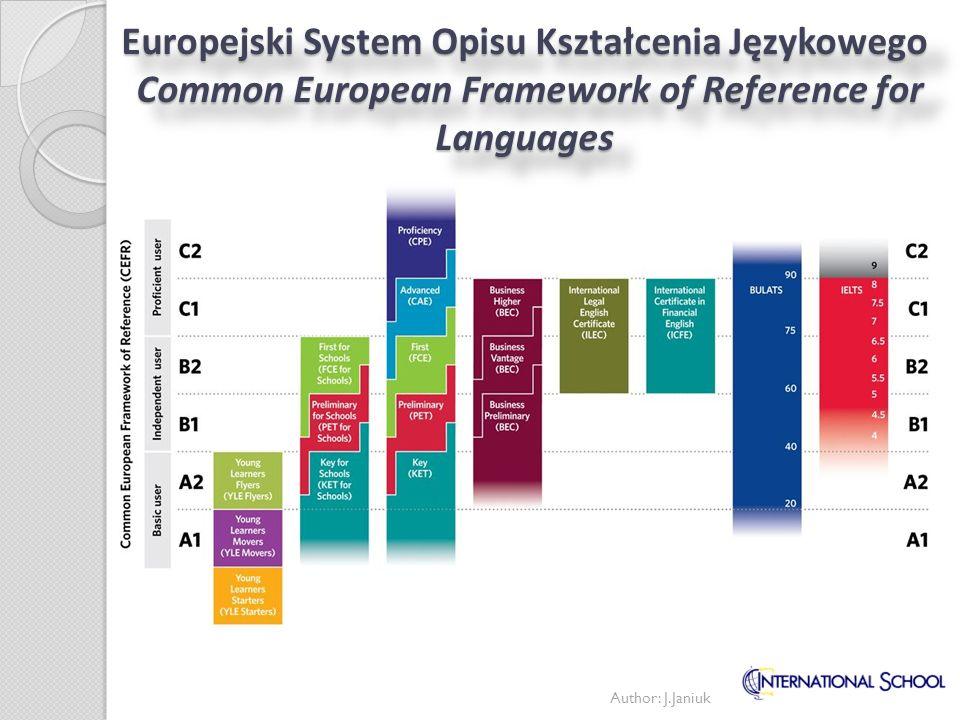 Europejski System Opisu Kształcenia Językowego Common European Framework of Reference for Languages Author: J.Janiuk