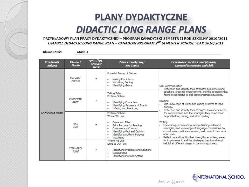 PLANY DYDAKTYCZNE DIDACTIC LONG RANGE PLANS Author: J.Janiuk