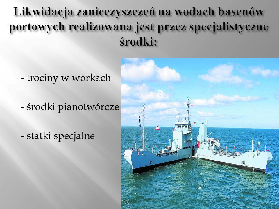 - trociny w workach - środki pianotwórcze - statki specjalne