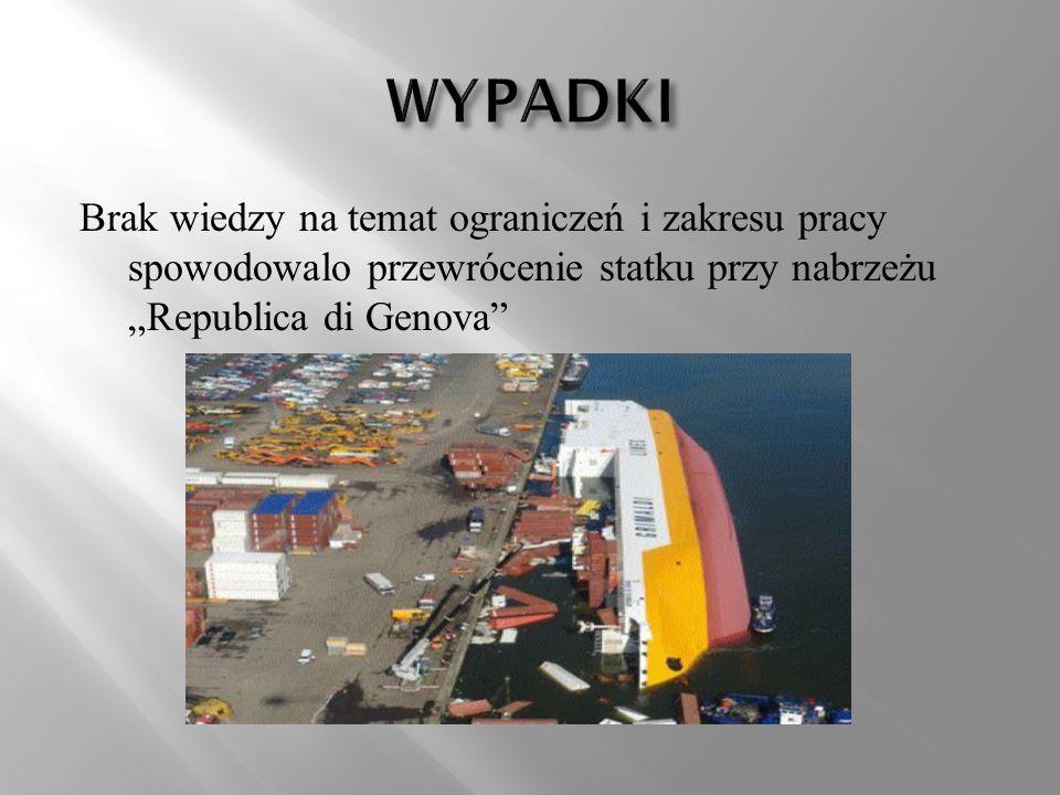 Brak wiedzy na temat ograniczeń i zakresu pracy spowodowalo przewrócenie statku przy nabrzeżu Republica di Genova