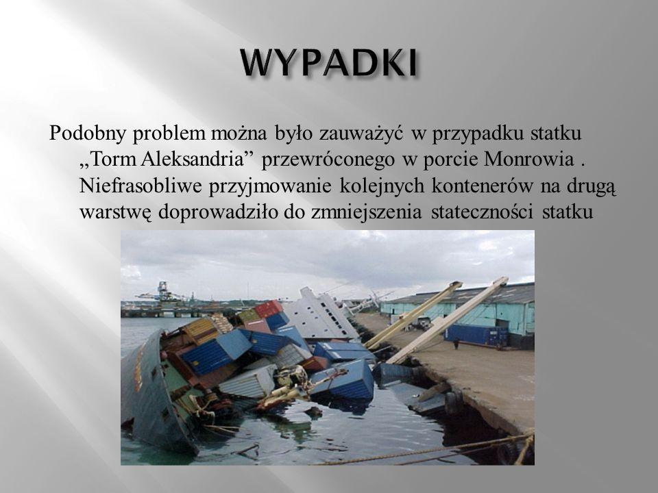 Podobny problem można było zauważyć w przypadku statku Torm Aleksandria przewróconego w porcie Monrowia. Niefrasobliwe przyjmowanie kolejnych kontener