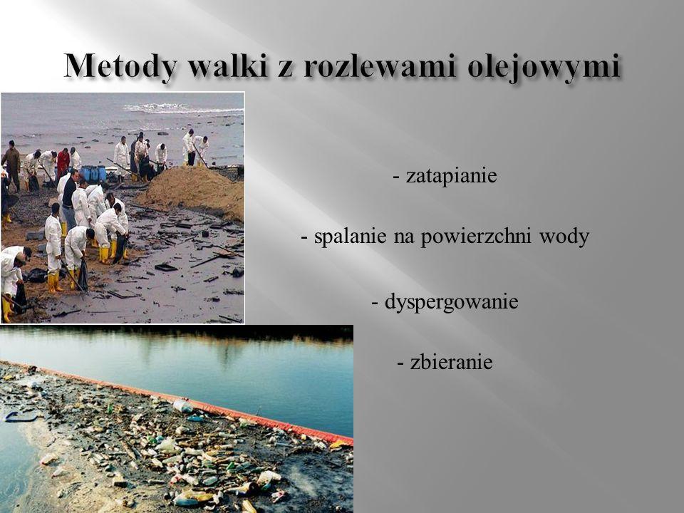 - Ograniczanie wielkości rozlewu - Usuwanie oleju z powierzchni wody - Gromadzenie mieszaniny wodno-olejowej - Doczyszczanie powierzchni wody - Obrobka zbieranego oleju