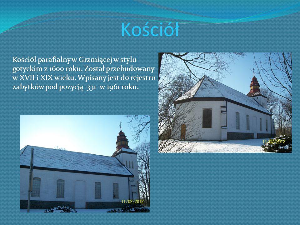 Kościół Kościół parafialny w Grzmiącej w stylu gotyckim z 1600 roku. Został przebudowany w XVII i XIX wieku. Wpisany jest do rejestru zabytków pod poz