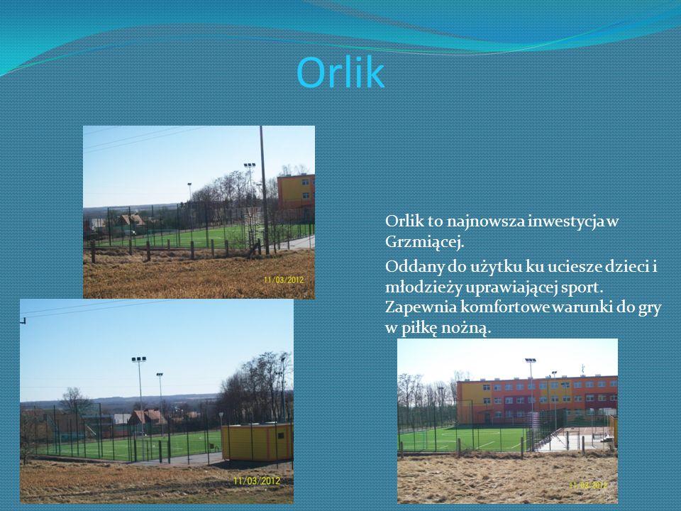 Orlik Orlik to najnowsza inwestycja w Grzmiącej. Oddany do użytku ku uciesze dzieci i młodzieży uprawiającej sport. Zapewnia komfortowe warunki do gry