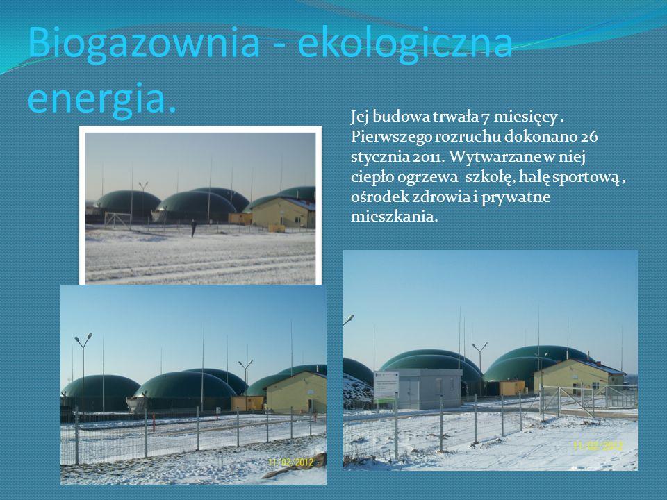 Biogazownia - ekologiczna energia. Jej budowa trwała 7 miesięcy. Pierwszego rozruchu dokonano 26 stycznia 2011. Wytwarzane w niej ciepło ogrzewa szkoł