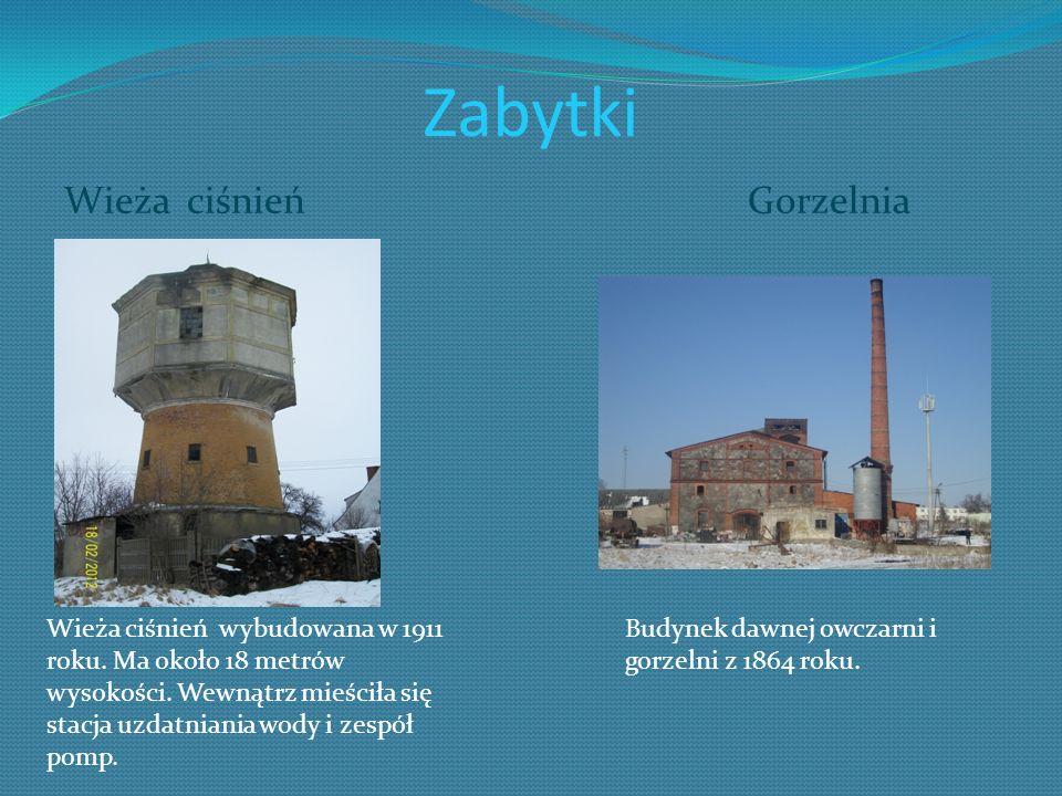 Zabytki Wieża ciśnień Gorzelnia Wieża ciśnień wybudowana w 1911 roku. Ma około 18 metrów wysokości. Wewnątrz mieściła się stacja uzdatniania wody i ze