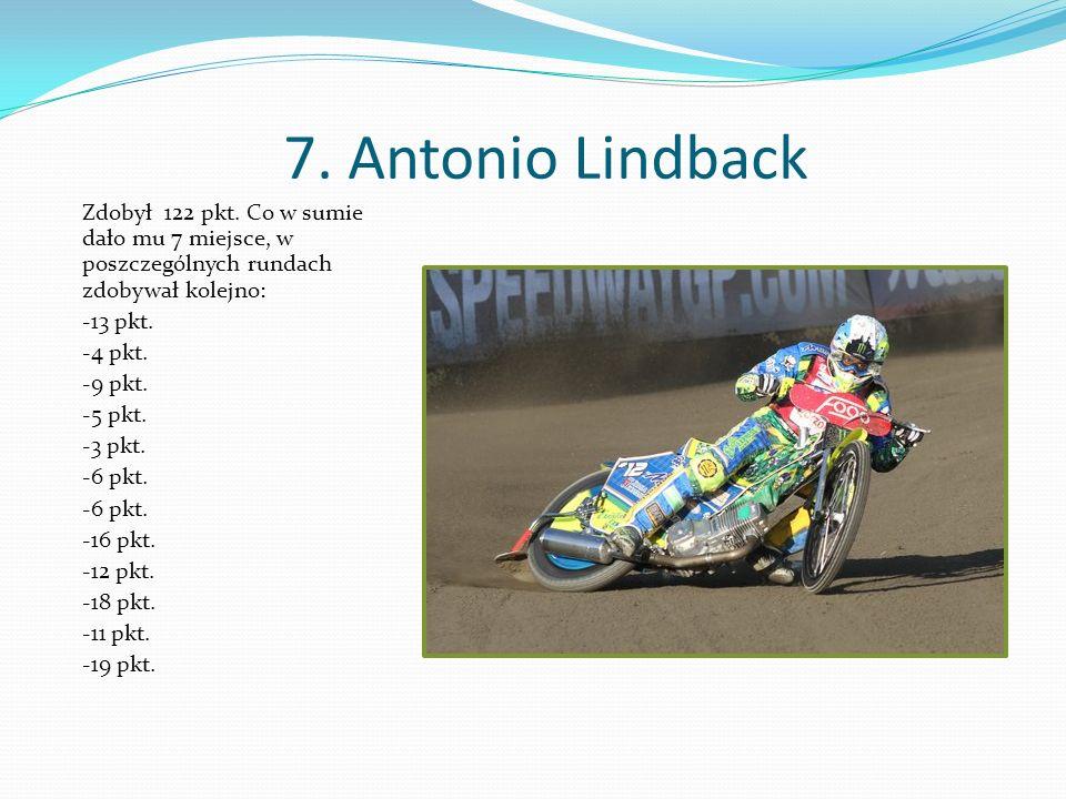 7. Antonio Lindback Zdobył 122 pkt.