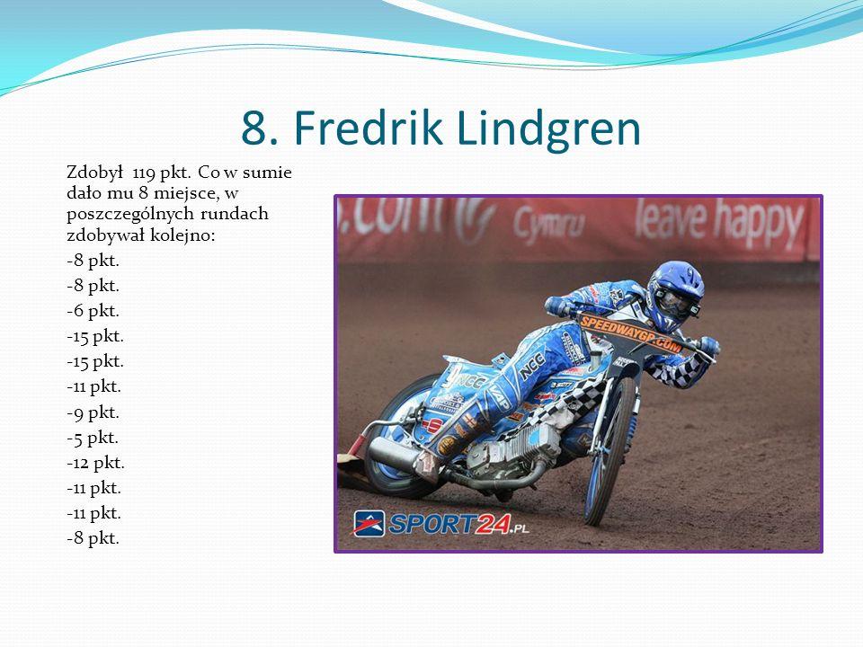 8. Fredrik Lindgren Zdobył 119 pkt.