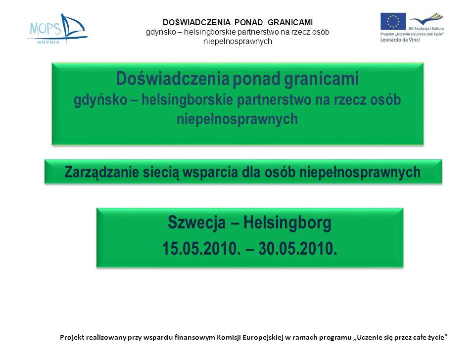 Doświadczenia ponad granicami gdyńsko – helsingborskie partnerstwo na rzecz osób niepełnosprawnych Szwecja – Helsingborg 15.05.2010. – 30.05.2010. Szw