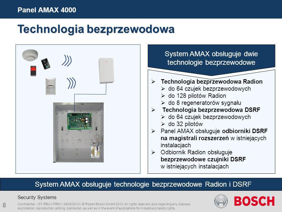 System AMAX obsługuje dwie technologie bezprzewodowe Technologia bezprzewodowa Radion do 64 czujek bezprzewodowych do 128 pilotów Radion do 8 regenera