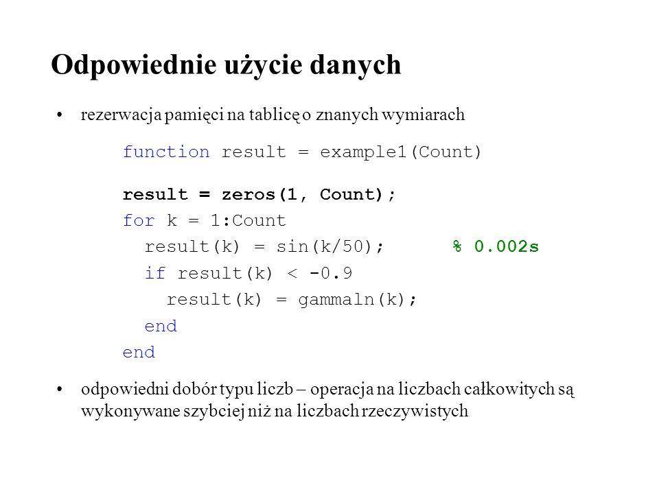 Odpowiednie użycie danych rezerwacja pamięci na tablicę o znanych wymiarach function result = example1(Count) result = zeros(1, Count); for k = 1:Coun