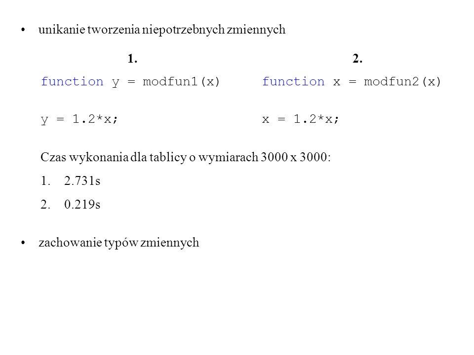 unikanie tworzenia niepotrzebnych zmiennych Czas wykonania dla tablicy o wymiarach 3000 x 3000: 1.2.731s 2.0.219s zachowanie typów zmiennych 1. functi