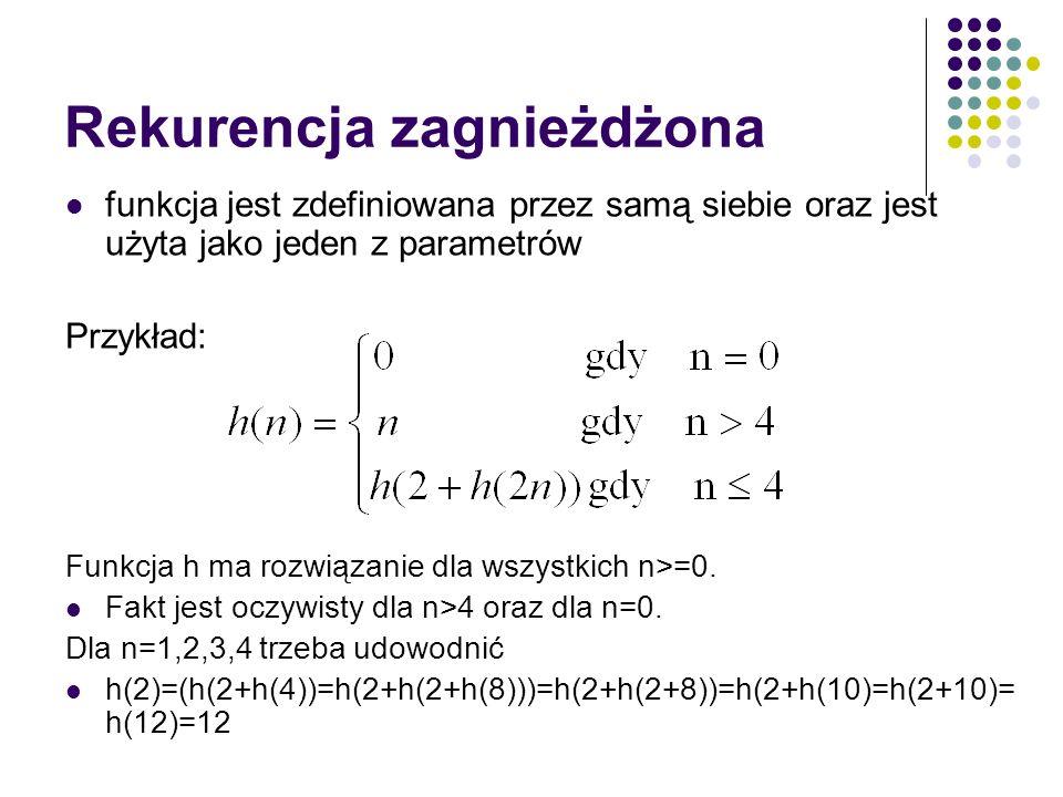 Rekurencja zagnieżdżona funkcja jest zdefiniowana przez samą siebie oraz jest użyta jako jeden z parametrów Przykład: Funkcja h ma rozwiązanie dla wsz
