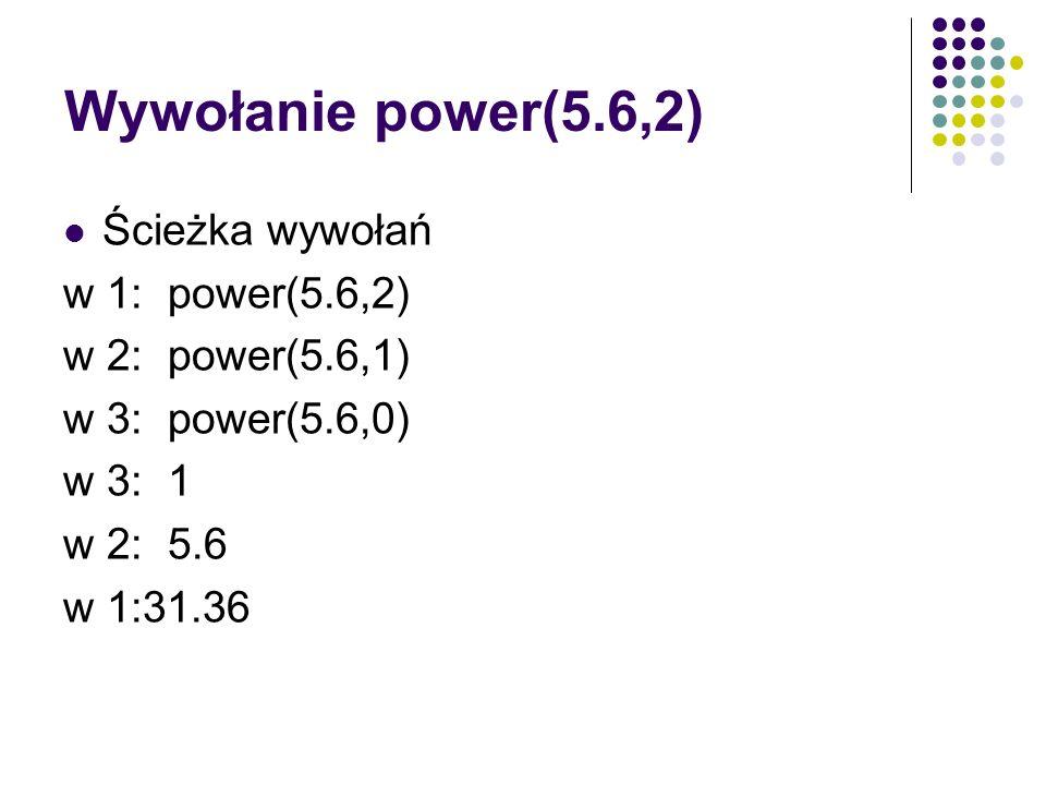 Wywołanie power(5.6,2) Ścieżka wywołań w 1: power(5.6,2) w 2: power(5.6,1) w 3: power(5.6,0) w 3:1 w 2:5.6 w 1:31.36