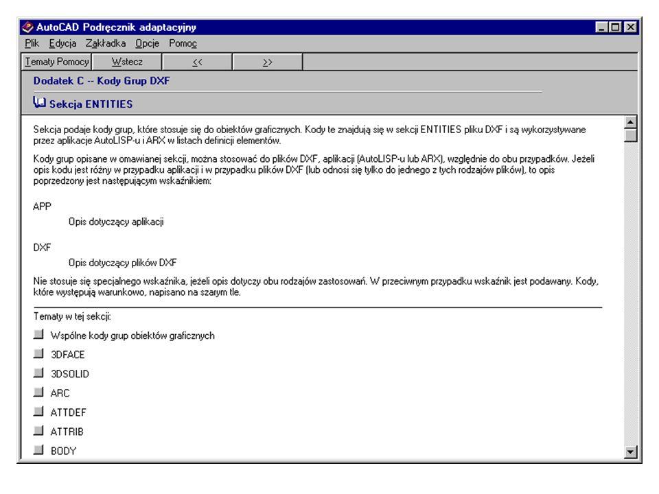 Sekcja podaje kody grup, które stosuje się do obiektów graficznych.