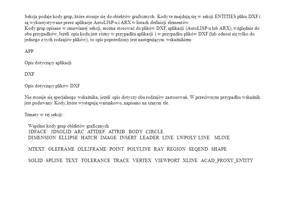Sekcja podaje kody grup, które stosuje się do obiektów graficznych. Kody te znajdują się w sekcji ENTITIES pliku DXF i są wykorzystywane przez aplikac