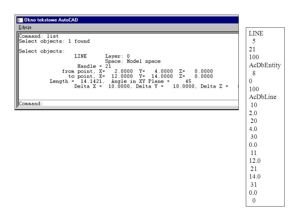 LINE 5 21 100 AcDbEntity 8 0 100 AcDbLine 10 2.0 20 4.0 30 0.0 11 12.0 21 14.0 31 0.0 0