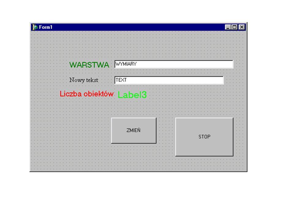 procedure TForm1.Button1Click(Sender: TObject); var p1, p2, p3 :OleVariant; Mspace, Acad, ent :OleVariant; l_poz:integer; begin p1:= varArrayCreate([0,2], VT_R8); p2:= varArrayCreate([0,2], VT_R8); p3:= varArrayCreate([0,2], VT_R8); // p1[0]:=2.0; p1[1]:=4; p1[2]:=0; p2[0]:=12.0; p2[1]:=14; p2[2]:=0; p3[0]:=7.0; p3[1]:=8; p3[2]:=0; try Acad:=GetActiveOleObject( AutoCAD.Application.16 ); except Acad:=CreateOleObject( AutoCAD.Application.16 ); end; Acad.Visible:=True; Mspace:=Acad.ActiveDocument.ModelSpace; MSpace.AddLine(varArrayref(p1), varArrayref(p2)).Update; l_poz := MSpace.Count; Label3.Caption:=IntToStr(l_poz); ent:=Mspace.Item(0); for l_poz := 0 to MSpace.Count-1 do begin; ent:=Mspace.Item(l_poz); if ent.layer = Edit1.text then if ent.EntityName = AcDbText then begin ent.textString:=Edit2.Text; ent.Update; end; end;//for end;