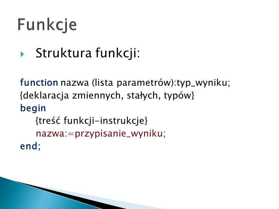 Struktura funkcji: function nazwa (lista parametrów):typ_wyniku; {deklaracja zmiennych, stałych, typów} begin {treść funkcji-instrukcje} nazwa:=przypi