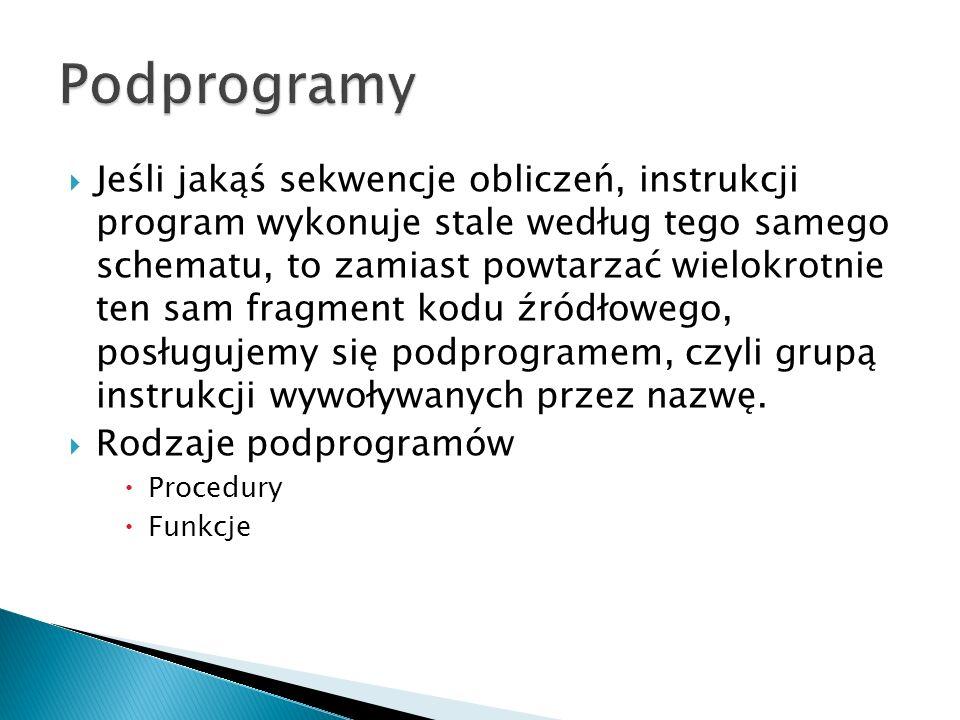Jeśli jakąś sekwencje obliczeń, instrukcji program wykonuje stale według tego samego schematu, to zamiast powtarzać wielokrotnie ten sam fragment kodu