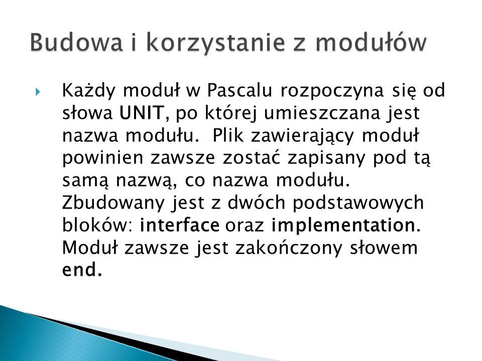 Każdy moduł w Pascalu rozpoczyna się od słowa UNIT, po której umieszczana jest nazwa modułu. Plik zawierający moduł powinien zawsze zostać zapisany po