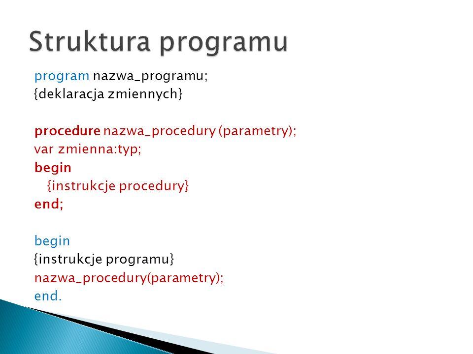 program nazwa_programu; {deklaracja zmiennych} procedure nazwa_procedury (parametry); var zmienna:typ; begin {instrukcje procedury} end; begin {instru