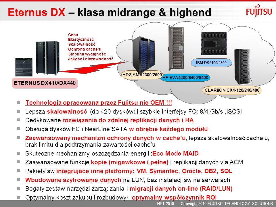 CLARiiON CX4-120/240/480 ETERNUS DX410/DX440 HP EVA4400/6400/8400 IBM DS5100/5300 HDS AMS2300/2500 Technologia opracowana przez Fujitsu nie OEM !!.