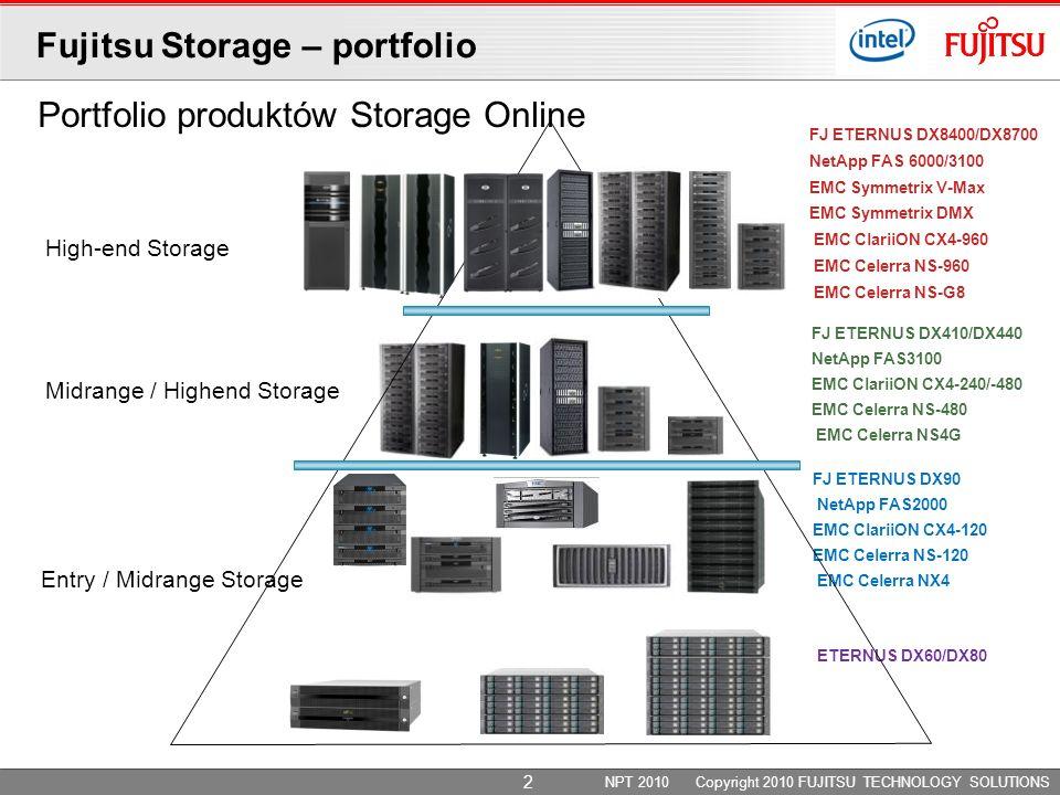 Portfolio produktów Storage Online High-end Storage Midrange / Highend Storage Entry / Midrange Storage FJ ETERNUS DX410/DX440 NetApp FAS3100 EMC ClariiON CX4-240/-480 EMC Celerra NS-480 EMC Celerra NS4G FJ ETERNUS DX8400/DX8700 NetApp FAS 6000/3100 EMC Symmetrix V-Max EMC Symmetrix DMX EMC ClariiON CX4-960 EMC Celerra NS-960 EMC Celerra NS-G8 ETERNUS DX60/DX80 FJ ETERNUS DX90 NetApp FAS2000 EMC ClariiON CX4-120 EMC Celerra NS-120 EMC Celerra NX4 NPT 2010 Copyright 2010 FUJITSU TECHNOLOGY SOLUTIONS Fujitsu Storage – portfolio 2