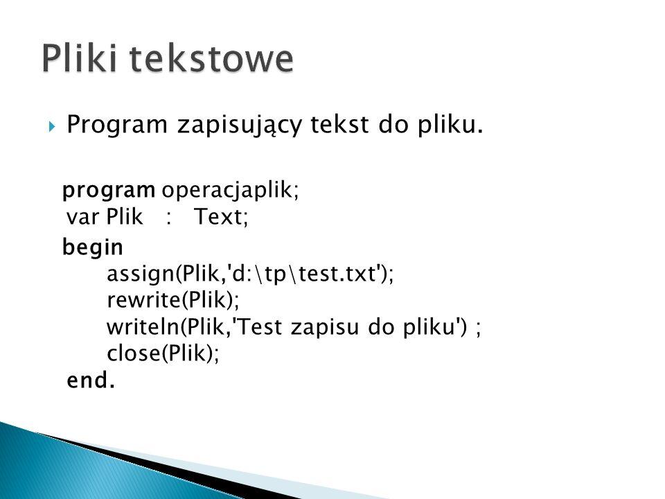 Program zapisujący tekst do pliku.