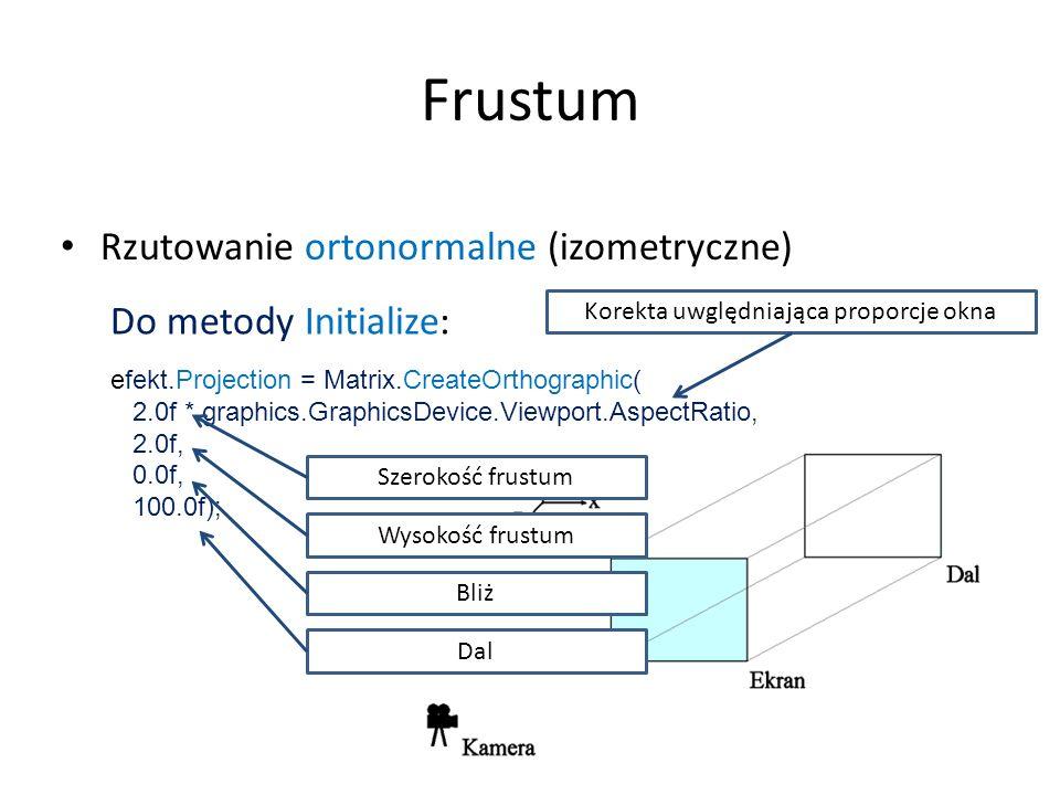 Do metody Initialize: efekt.Projection = Matrix.CreateOrthographic( 2.0f, 0.0f, 100.0f); Frustum Rzutowanie ortonormalne (izometryczne) Do metody Init