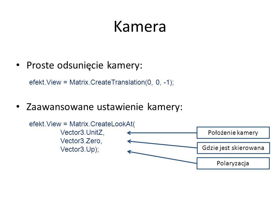 efekt.View = Matrix.CreateTranslation(0, 0, -1); Kamera Proste odsunięcie kamery: Zaawansowane ustawienie kamery: efekt.View = Matrix.CreateLookAt( ne