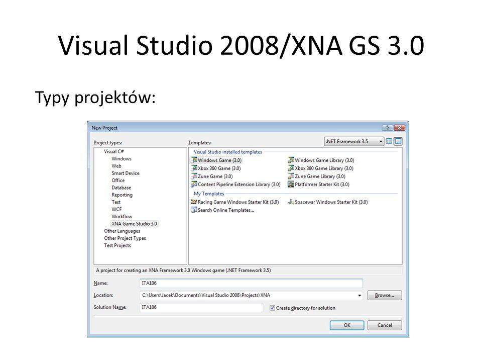 Visual Studio 2008/XNA GS 3.0 Własności projektu gry Game1.cs zamiast Form1.csDostęp do platformy.NET 3.5 Język programowania: C# 3.0 Nie ma biblioteki gotowych komponentów