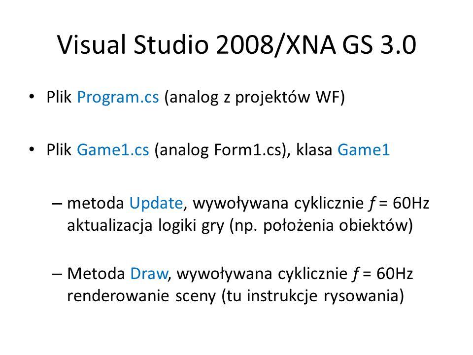 Pierwszy program XNA W klasie Game1 definiujemy pole – zbiór werteksów typu VertexPositionColor: private VertexPositionColor[] werteksyTrojkata = new VertexPositionColor[3]{ new VertexPositionColor(new Vector3(0.5f, -0.5f, 0), Color.White), new VertexPositionColor(new Vector3(-0.5f, -0.5f, 0), Color.White), new VertexPositionColor(new Vector3(0, 0.5f, 0), Color.White)}; Obiekt typu BasicEffect (filar prostej grafiki 3D) private BasicEffect efekt = null; protected override void Initialize() { efekt = new BasicEffect(graphics.GraphicsDevice, null); base.Initialize(); }