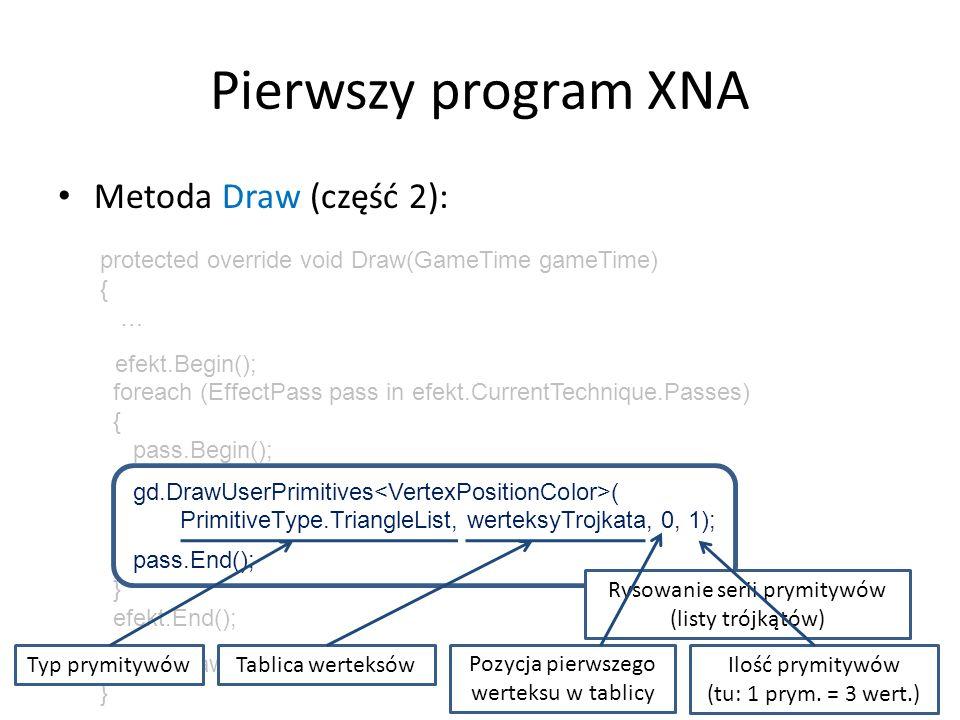 Pierwszy program XNA Metoda Draw (część 3): gd.DrawUserPrimitives ( PrimitiveType.TriangleList, werteksyTrojkata, 0, 1); Zalety metody GraphicsDevice.DrawUserPrimitives: – najprostsze możliwe rozwiązanie – możliwość swobodnej zmiany własności werteksów – tablicę werteksów można nawet zdefiniować inline Wada: – brak buforowania werteksów w karcie graficznej!!!