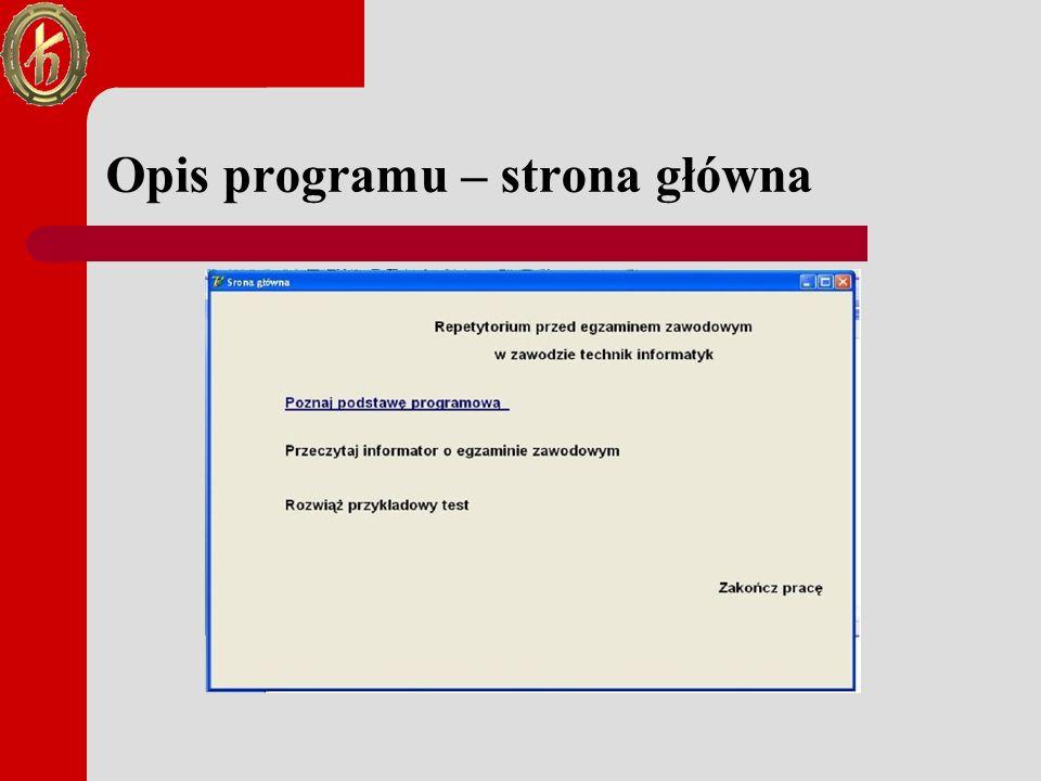 Opis programu – strona główna